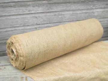 huge roll of natural color vintage hessian burlap fabric, 20 yards