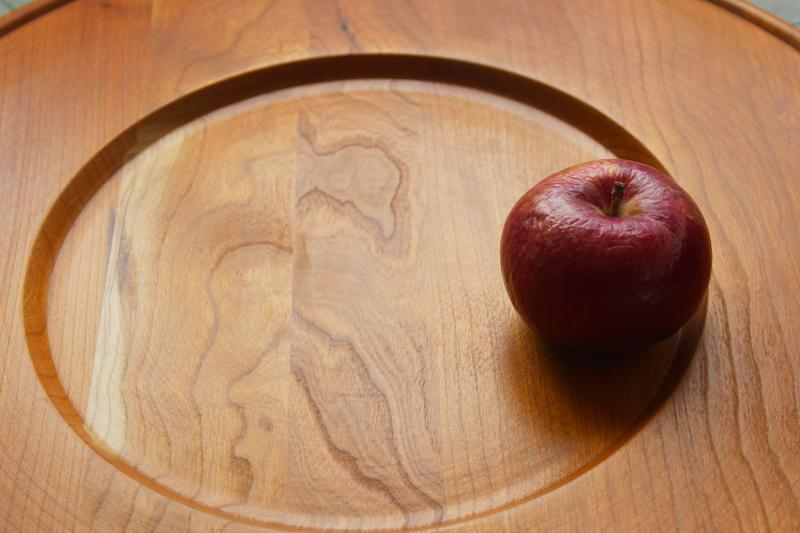 huge round bread tray or charcuterie & cheese board, natural cherry wood serving plate