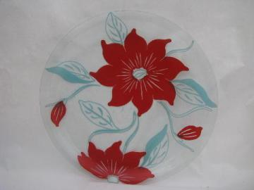 huge round glass platter or plate, retro poppy flowers in red