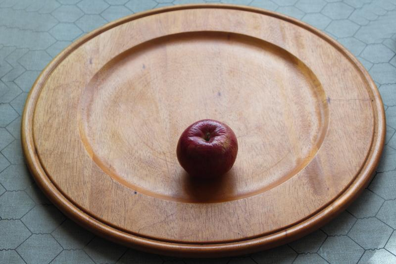 huge round mahogany wood bread tray or charcuterie & cheese board, serving plate
