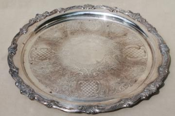 huge round waiter's silverplated tray, vintage silver plate serving tray