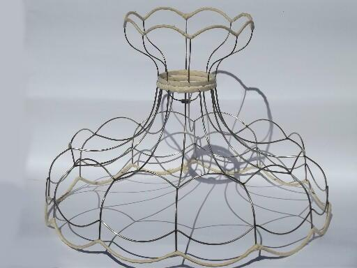 Huge scalloped lampshade frame vintage wire victorian lamp shade greentooth Gallery