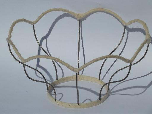 huge scalloped lampshade frame, vintage wire Victorian lamp shade