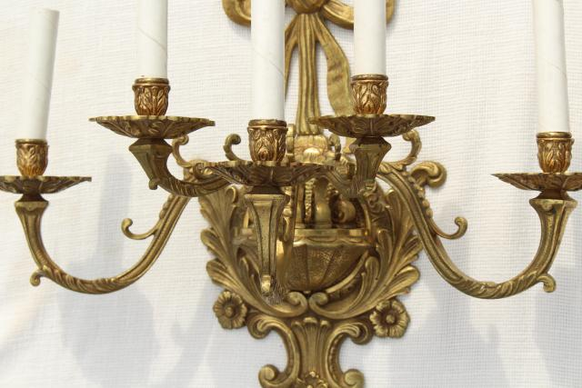 huge solid brass candle sconce electric wall light ... on Sconces No Electric Plug id=84800