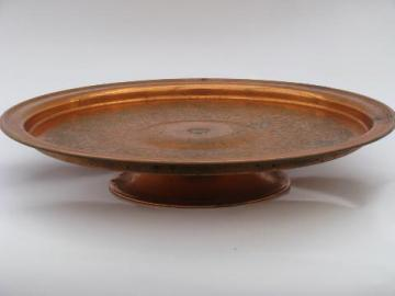 huge solid copper lazy susan turntable, for relish set or cake plate