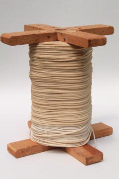 huge spool of grubby old cotton cord, light rope texture string for macrame yarn