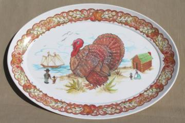 huge turkey platter, vintage Brookpark melmac Thanksgiving platter / serving tray