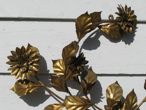 huge vintage Italian tole candelabra, antique gold flowers, wrought metal wall sconce