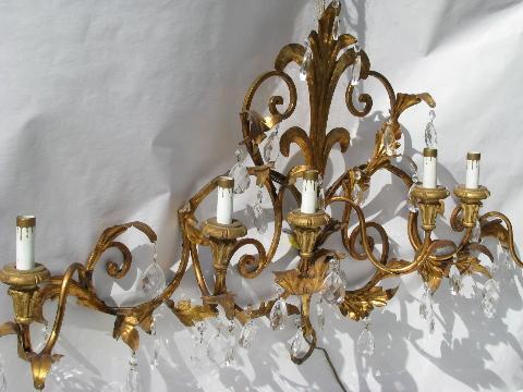 Huge Vintage Italian Tole Gl Prisms Wall Sconce Lamp Candelabra Candles Electric Light