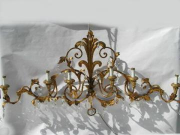 huge vintage Italian tole / glass prisms wall sconce lamp, candelabra candles electric light