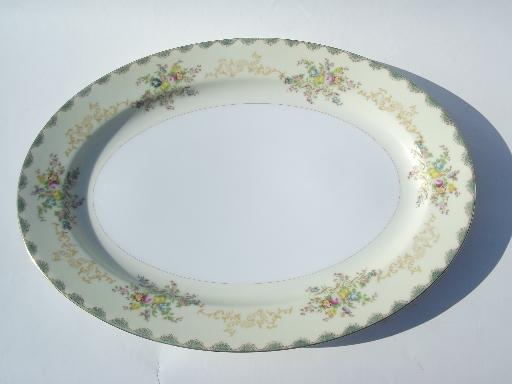 huge vintage Meito Japan china platter tray, hand painted floral border