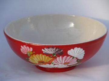 huge vintage Ransburg stoneware pottery crock bowl, hand-painted flowers on orange