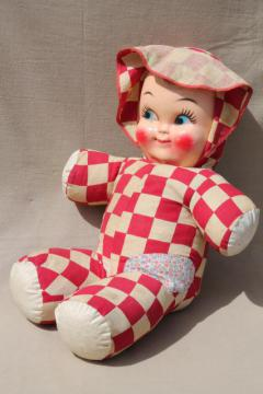 huge vintage baby face doll w/ red & white checked cotton soft body, carnival prize toy