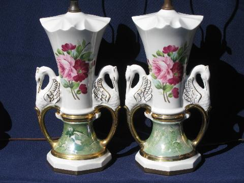Huge Vintage China Lamps Victorian Style Pink Roses