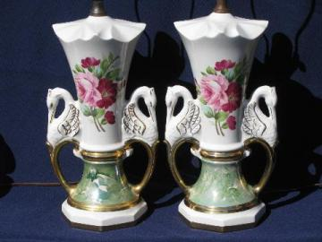 huge vintage china lamps, Victorian style pink roses, swans, green marble