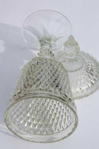 huge vintage glass apothecary jar candy dish w/ lid, Indiana glass diamond point
