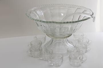 huge vintage glass punch bowl set w/ glass ladle Heisey Colonial panel pattern glass