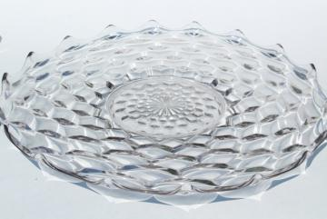 huge vintage glass torte plate for wedding cake, crystal clear Fostoria American pattern glass