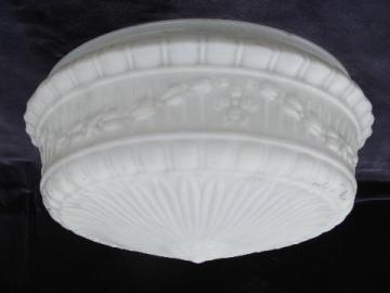 huge vintage puffy satin glass lamp shade for antique electric ceiling light fixture
