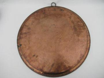 huge vintage tinned copper charger tray, hand made in Europe