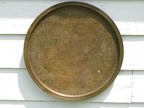 huge vintage tooled brass tray or table top, solid brass with floral design