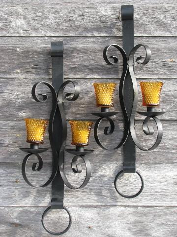 new concept 35b97 a89dd huge vintage wrought iron candle sconces, wall candelabra ...