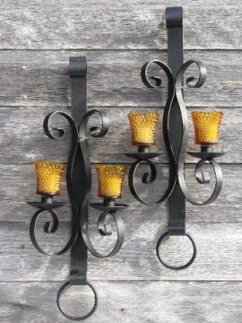 huge vintage wrought iron candle sconces, wall candelabra pair, antique black