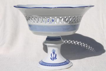 huge white china fruit stand or compote bowl w/ delft style design in blue