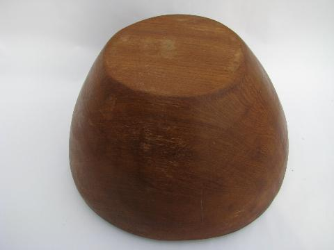 huge wood bowl, retro danish modern vintage