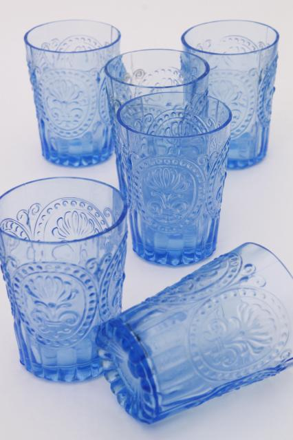 Ice Blue Pressed Glass Tumblers Embossed Pattern Glass