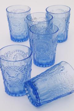 ice blue pressed glass tumblers, embossed pattern glass drinking glasses set of 6