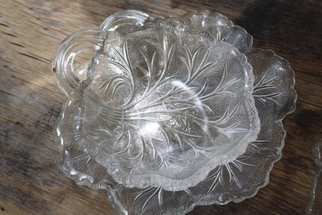ice textured glass salad plates & bowls, vintage Indiana glass pebble leaf pattern