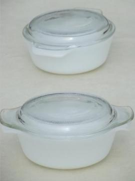 individual oven ware glass casseroles, Anchor Hocking Fire-King milk glass