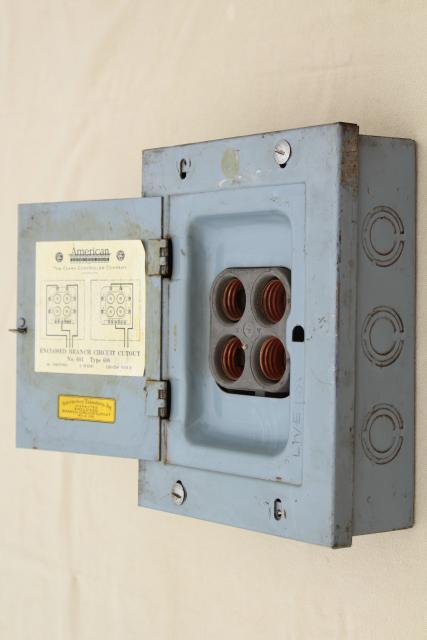 industrial steel electrical control box for screw type fuses steampunk  vintage  laurel leaf farm