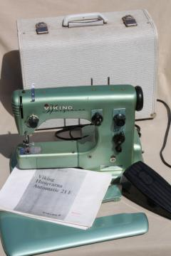 industrial vintage Viking Husquvarna 21E sewing machine, free arm w/ manual & case Sweden