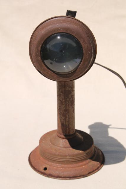 industrial vintage light adjustable lamp wall mounting w/ convex fish eye lens
