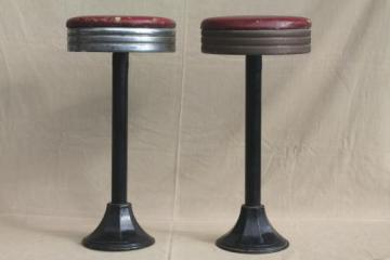 industrial vintage metal stools, antique cast iron bar / counter stools with original seats