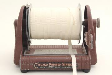 industrial vintage spool holder w/ cutter, parcel wrapping twine / gift ribbon dispenser