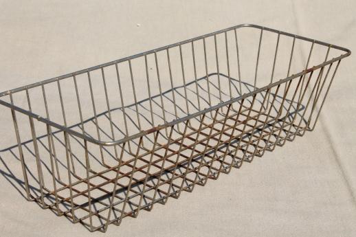 Industrial Vintage Wire Basket Storage Bin, Store Counter Display Basket