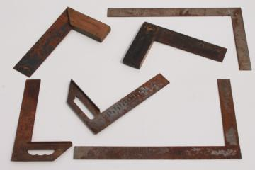 industrial vintage  wood & steel squares, lot of 6 woodworking squares layout tools