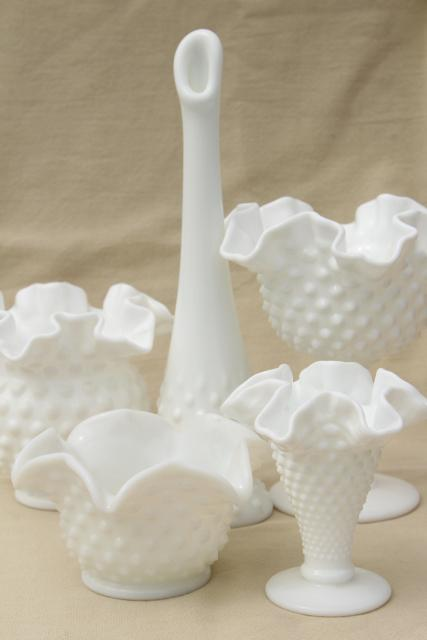 instant collection of flower vases, vintage Fenton hobnail milk glass lot