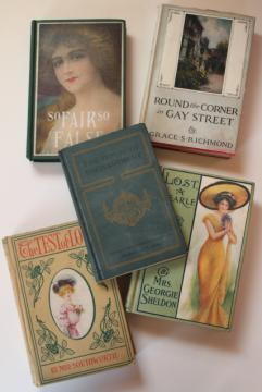 instant collection vintage books, romances w/ gibson girl antique cover art