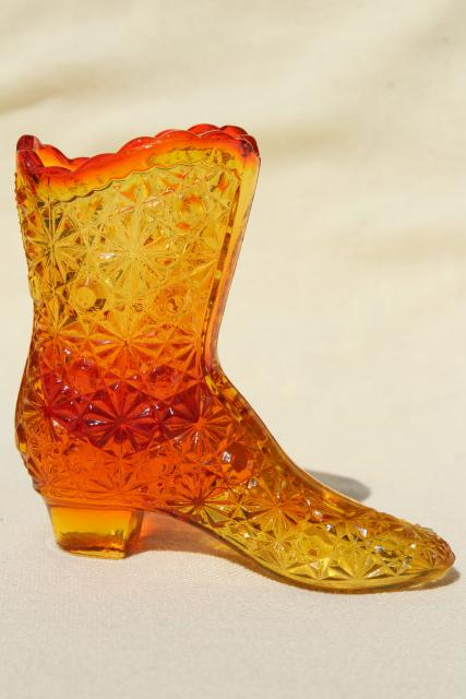 instant collection vintage pattern glass ladies shoes & high top boots, Fenton etc