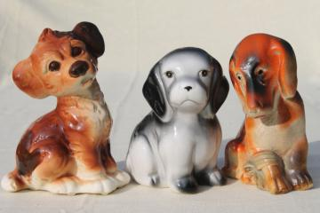 instant collection vintage puppies, large ceramic dog figurines & carnival chalkware figure