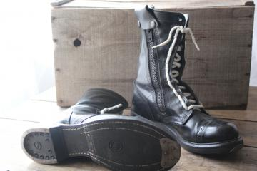 intage Corcoran black leather military paratrooper combat boots metal heel & toe size 9 1/2