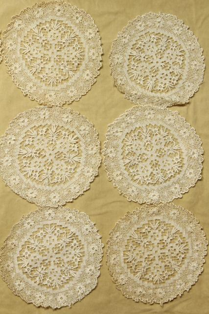 intage goblet rounds, net darning lace doily table mats set of 12