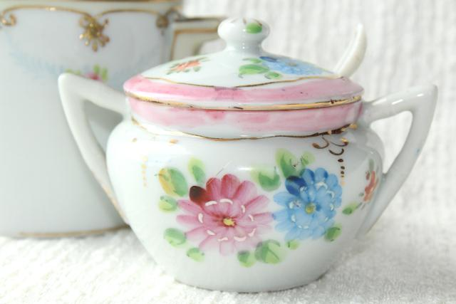 intage hand painted Nippon & Japan china jam pots or condiment jars