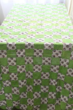 intage patchwork quilt top or tablecloth, cottage style floral & apple green polka dots