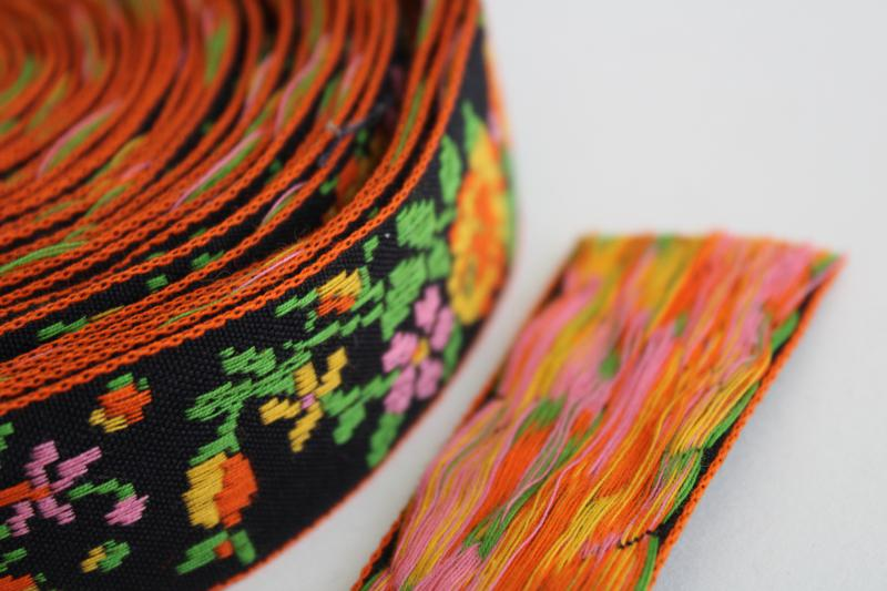 intage sewing trim, embroidered cotton braid tapestry floral brights on black