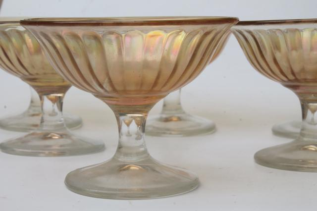 iridescent glass sherbets or ice cream dishes, vintage depression glass marigold luster